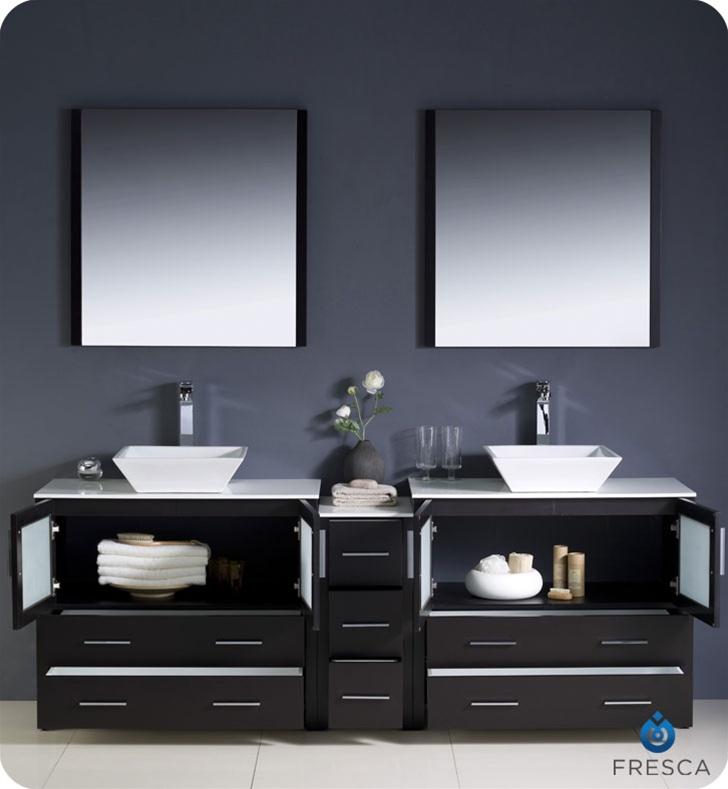 84 Torino Espresso Modern Double Sink Bathroom Vanity W Side