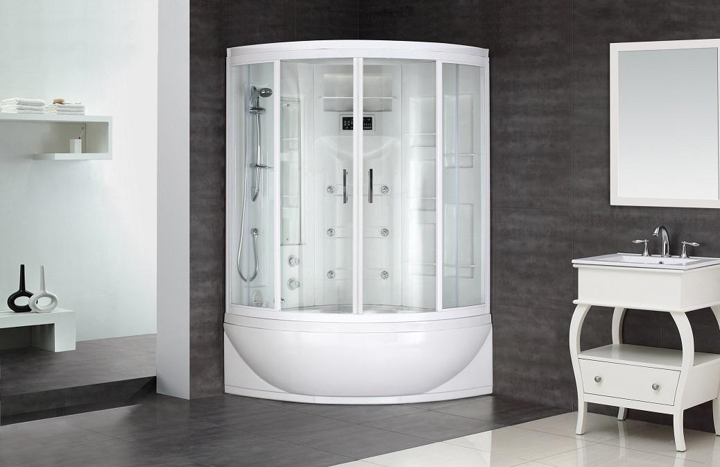 87″ STEAM SHOWER WHIRLPOOL BATH WITH 24 BODY JETS   Platinum Bath