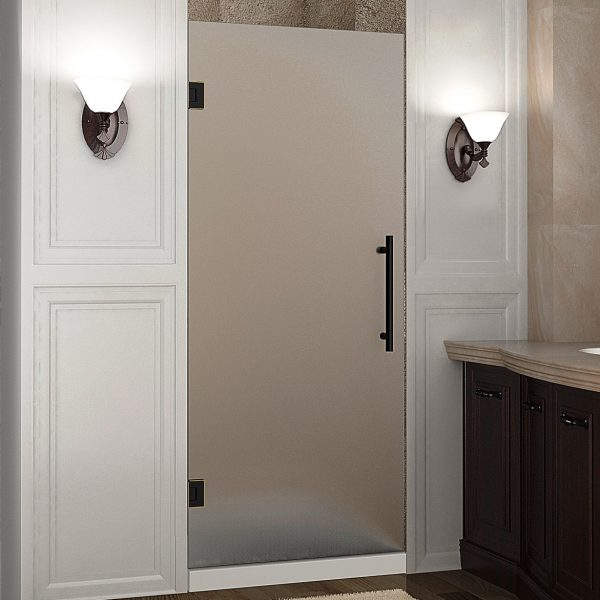 Cascadia Completely Frameless Hinged Shower Door; Frosted Glass, Oil ...