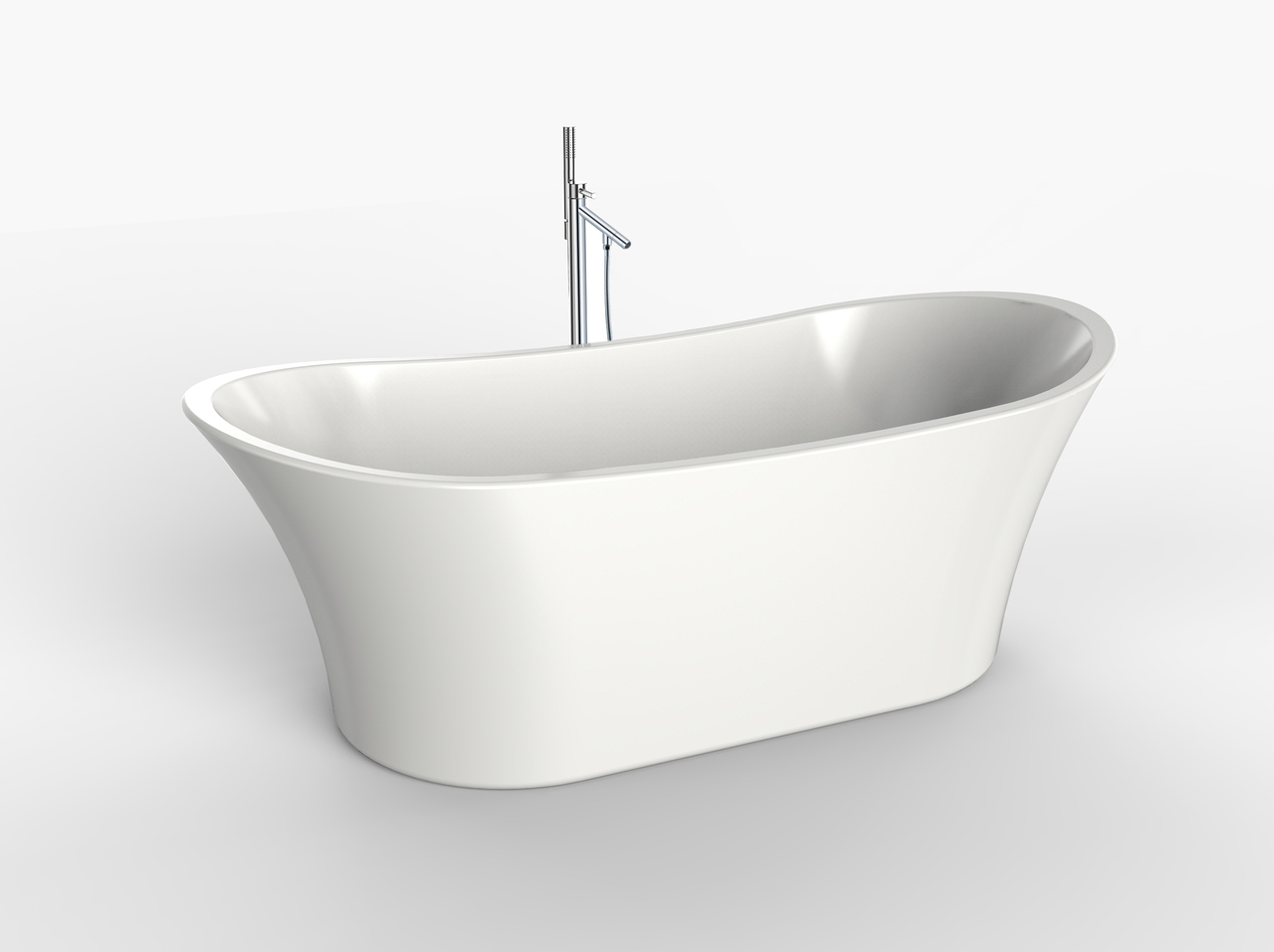 71″ Creswell Scooped Oval Freestanding Tub & Primrose Floor-Mounted ...