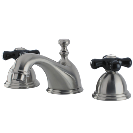 Restoration Onyx Widespread Lavatory Faucet With Black