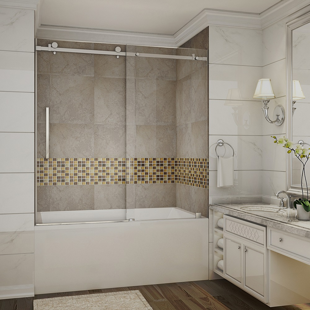 MOSELLE COMPLETELY FRAMELESS SLIDING TUB-HEIGHT SHOWER ...