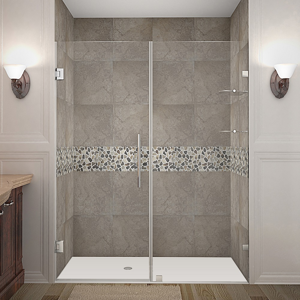 NAUTIS GS COMPLETELY FRAMELESS HINGED SHOWER DOOR WITH SHELVES IN ...