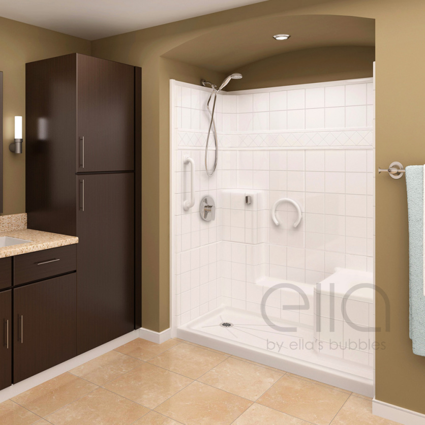 Freedom Multi Piece Low Threshold Shower With Molded Seat