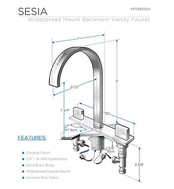 Fresca Sesia Widespread Mount Bathroom Vanity Faucet Chrome Platinum Bath