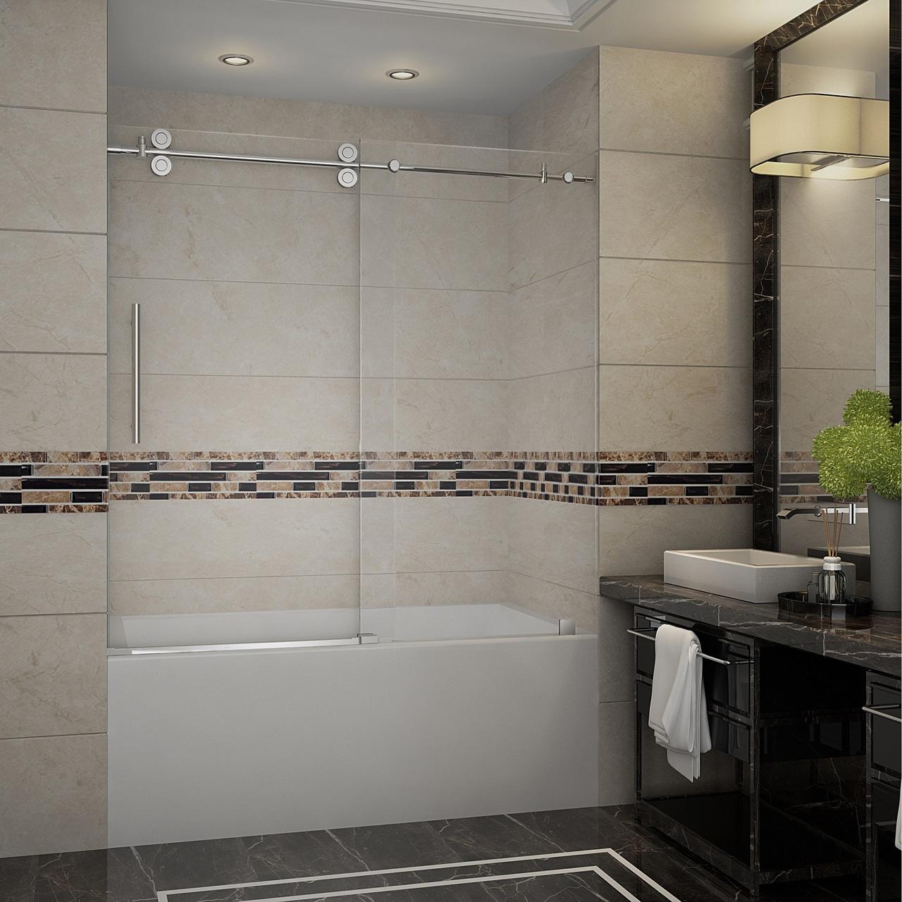 Langham Frameless Sliding Tub Height Door In Chrome Or