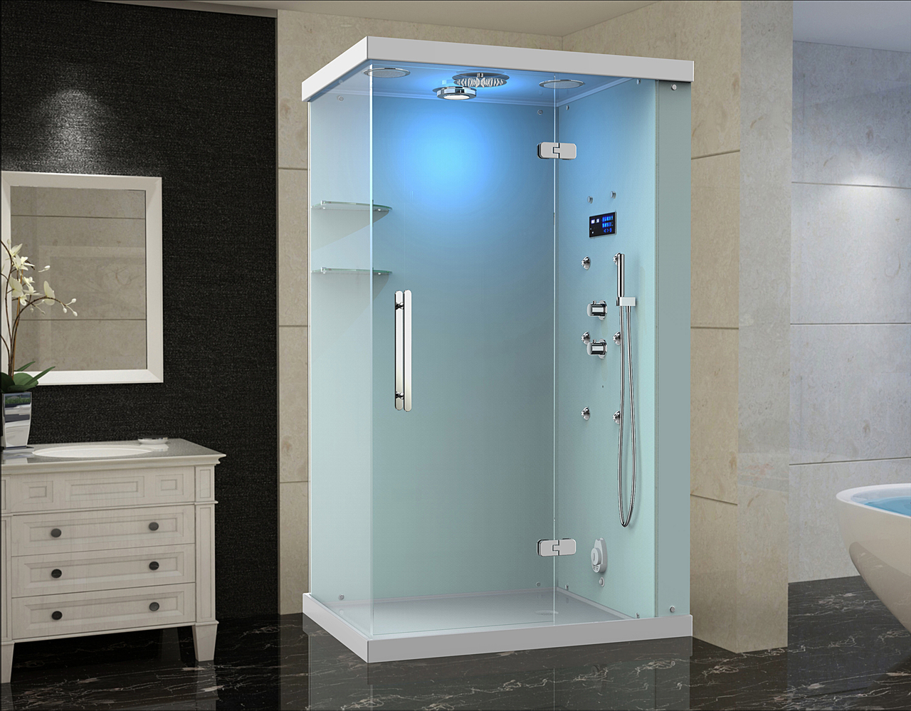 Windemere Frameless Glass Rectangular Steam Shower with 6 Body Jets ...