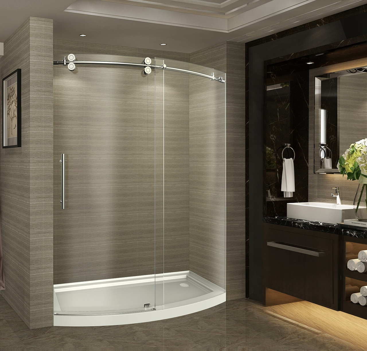 60 Zenarch Completely Frameless Bowfront Sliding Shower Door No Base Platinum Bath